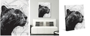 """Creative Gallery Black Panther Portrait on White 24"""" x 20"""" Canvas Wall Art Print"""