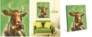 """Creative Gallery Audelia the Happy Cow in Green 20"""" x 16"""" Canvas Wall Art Print"""