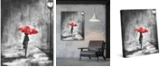 "Creative Gallery A Rainy Walk with a Red Umbrella 24"" x 20"" Canvas Wall Art Print"