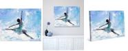 "Creative Gallery Grande Jete Ballerina in Blue Abstract 20"" x 16"" Canvas Wall Art Print"