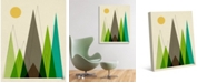 "Creative Gallery Retro Mountains in Green 24"" x 20"" Canvas Wall Art Print"