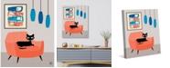 """Creative Gallery Retro Cat Peach Chair with Blue 24"""" x 20"""" Canvas Wall Art Print"""