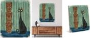 "Creative Gallery Retro Tiki Cat on Green Blue 36"" x 24"" Canvas Wall Art Print"