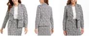 Kasper Metallic Jacquard Wing-Collar Jacket