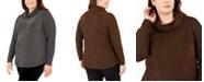 Belldini Plus Size Metallic Cowl-Neck Sweater