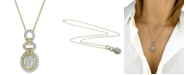 Macy's Diamond Oval Adjustable Pendant Necklace (3/4 ct. t.w.) in 14k Gold & White Gold