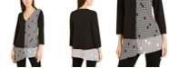 Alfani Printed Colorblocked Asymmetrical Top, Created For Macy's