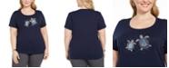 Karen Scott Plus Size Embellished Turtle Print Cotton T-Shirt, Created for Macy's