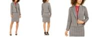 Nine West Notch-Collar Plaid Jacket, Keyhole Blouse & Plaid Pencil Skirt
