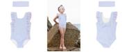 RuffleButts Toddler Girls Waterfall Ruffled Swimsuit Swim Headband Set