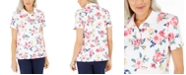 Karen Scott Petite Floral-Print Polo Shirt, Created For Macy's