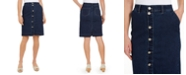 Charter Club Button-Front Knee-Length Denim Skirt, Created for Macy's