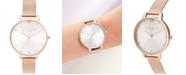 Olivia Burton Women's Queen Bee Rose Gold-Tone Stainless Steel Mesh Bracelet Watch 38mm