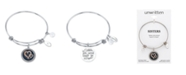 """Unwritten """"Sisters are Joined Heart to Heart"""" Enamel Bangle Bracelet in Stainless Steel & Rose Gold-Tone"""