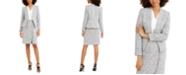 Calvin Klein Asymmetrical Jacket, V-Neck Top & Fringe-Trim Pencil Skirt