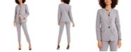 Nine West Toggle-Closure Jacket, Printed Keyhole Blouse & Straight-Leg Pants
