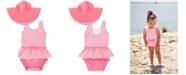 RuggedButts RuffleButts Toddler Girl's Skirted 1-Piece Swimsuit Swim Hat Set