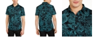 INC International Concepts INC Men's Colored Dark Floral Pattern Short Sleeve Shirt, Created For Macy's
