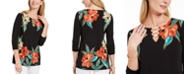 JM Collection Floral-Print Hardware Keyhole Tunic, Created For Macy's