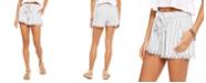 Rewash Juniors' Striped Tie-Front Raw-edged Shorts