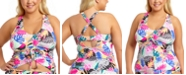 California Waves Trendy Plus Size Tropic Mix Printed Adjustable Cinch Front Tankini Top, Created for Macy's