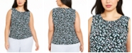 Calvin Klein Plus Size Floral-Print Pleat-Neck Top