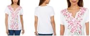 Karen Scott Printed Split-Neck Top, Created for Macy's