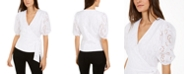 INC International Concepts INC Cotton Puff-Sleeve Eyelet Faux-Wrap Top, Created for Macy's