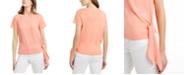 Michael Kors Mixed-Media Tie-Hem Top, Regular & Petite