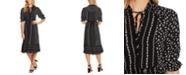CeCe Printed Ruffle-Sleeve Dress