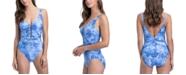 Profile by Gottex Taj Mahal Printed Strappy V-Neck Tummy Control One-Piece Swimsuit