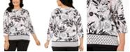 Kasper Plus Size Border-Hem Printed Tunic