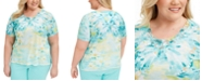 Alfred Dunner Plus Size Spring Lake Printed Top