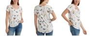 Lucky Brand Cotton Butterfly-Print T-Shirt