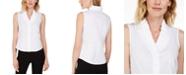 Kasper Petite Cotton Ruffled V-Neck Blouse