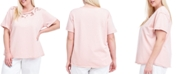 Fever Plus Size Cutout Short-Sleeve Sweatshirt