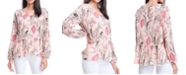 Fever Floral-Print Pleated Peplum Blouse