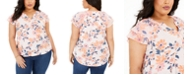 Style & Co Plus Size Printed Flutter-Sleeve Top, Created for Macy's