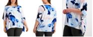 Alfani Plus Size Printed Asymmetrical Dolman-Sleeve Top, Created for Macy's