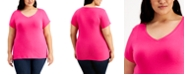 Aveto Planet Gold Trendy Plus Size Fitted V-Neck T-Shirt