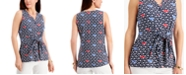 Charter Club Printed Tie-Front Sleeveless Top, Created for Macy's