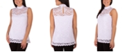 NY Collection Petite Mock-Neck Lace Top
