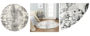 """Global Rug Designs Jano Jan02 Ivory and Gray 7'10"""" x 7'10"""" Round Rug"""