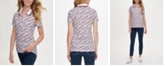 Tommy Hilfiger Printed Zip-Front Polo Shirt, Created for Macy's