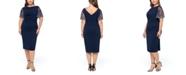 Betsy & Adam Plus Size Beaded-Sleeve Dress