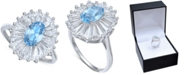 Macy's Cubic Zirconia Tapered Flower Oval & Baguette Ring (5-3/8 ct. t.w.) in Sterling Silver (Also Available in Orange, Blue, and Light Blue)