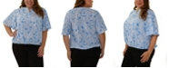 NY Collection Women's Plus Size Flutter Sleeve Top