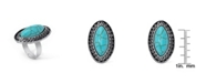Macy's Simulated Turquoise in Silver Plated Marquise Adjustable Ring