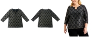 JM Collection Plus Size Beaded Jacquard Top, Created for Macy's