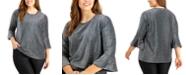 Michael Kors Plus Size Metallic Flare-Sleeve Top